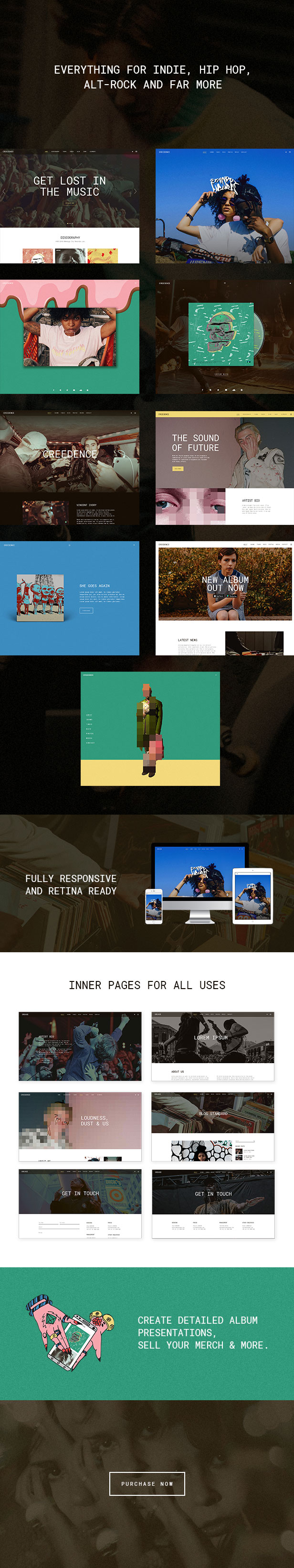 WordPress theme Creedence - An Alternative Music Theme for Bands and Labels (Music and Bands)